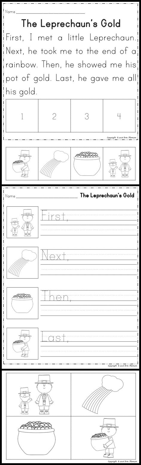 Sequencing Stories ~ First, Next, Then, Last. Read and sequence the Leprechaun story.