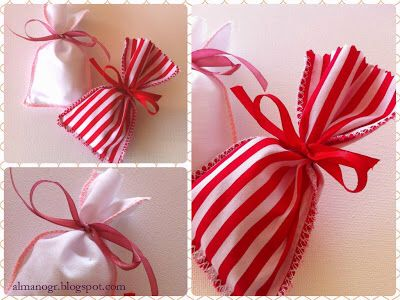 Textile cotton pouches tied with satin ribbons #fabricfavors #fabricpouches #christening #mpomponieres #almano