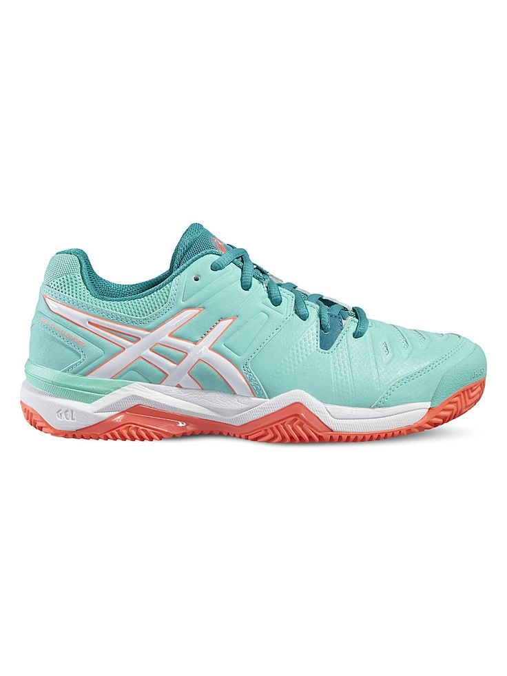 Кроссовки GEL-CHALLENGER 10 CLAY ASICS. Цвет бирюзовый, коралловый, белый.