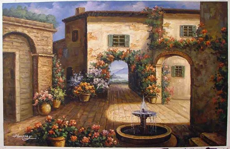 Tuscan Courtyards Tuscan Courtyard Art Pinterest