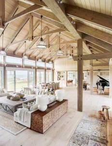 Barn House Vaulted Ceilings Living Room