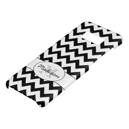 Simple Elegant Black white Chevron Monogram Case-Mate Samsung Galaxy S8 Case - patterns pattern special unique design gift idea diy