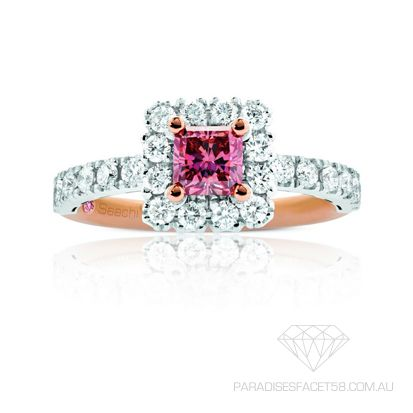 Saachi 'Mystique'  www.paradisesfacet58.com.au  This 'Saachi' piece was designed, custom made and inspired by the celebration of love and life.  A step by step process involving one on one creative brainstorming and the choosing of the perfect Radiant Cut Pink Argyle Diamond.  Complimented by round brilliant cut diamonds in rose  and white golds.