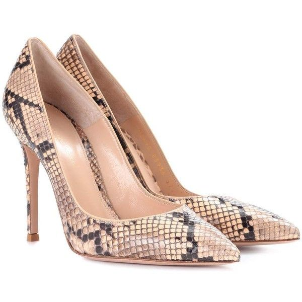 Gianvito Rossi Gianvito 105 Snakeskin Pumps (20,800 MXN) ❤ liked on Polyvore featuring shoes, pumps, high-heel, neutrals, high heeled footwear, brown shoes, brown high heel pumps, high heel court shoes and gianvito rossi shoes