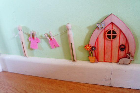 Fairy Door Washing line, dinky tooth fairy line, pixie dor, elf door, fairy garden handmade fairy door accessories