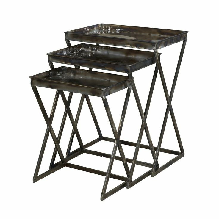 Industrial And Vintage Combine To Form These Eyecatching Metal Nesting  Tables. The Set Of Three Graduated Tables Feature Trendy, Sturdy Shaped Legs  And Flat ...