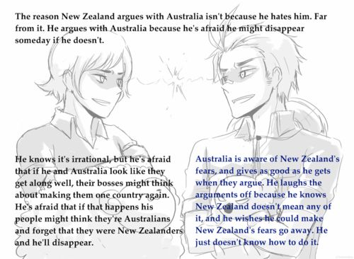 New Zealand and Australia -Hetalia. Yeah that, and also we and the aussies are really competitive