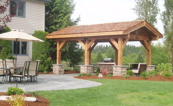 Outdoor gazebo using western red cedar shakes on the roof for Outdoor kitchen roof structures