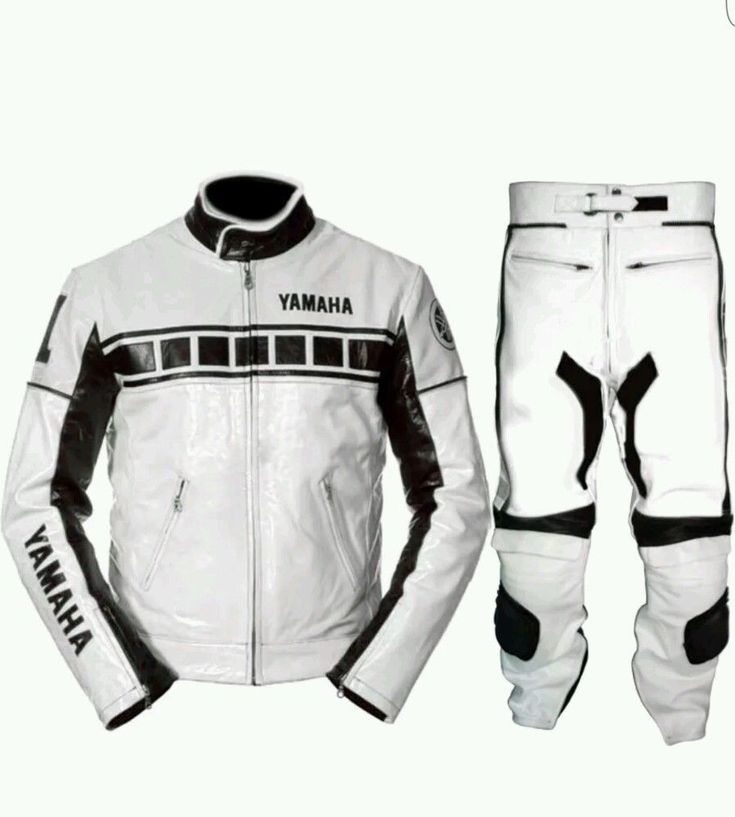 MEN YAMAHA MOTORBIKE RACING COWHIDE LEATHER 2 PC SUIT CE APPROVED SAFETY PAD NEW - Outerwear