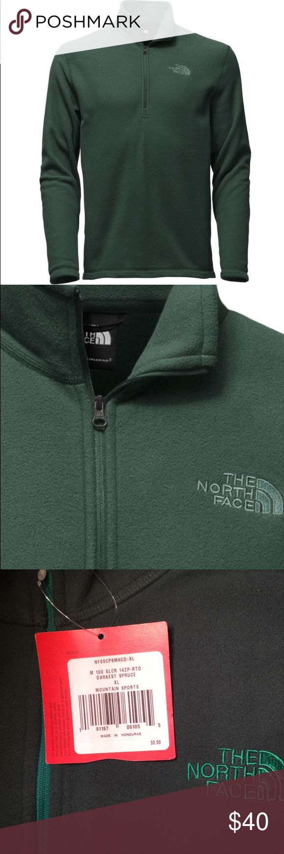 The North Face M100 Glacier XL NWT Darkest Spruce New with tags Men's XL The North Face M 100 Glacier Fleece Pullover in Darkest Spruce. Regulate your body temperature after fast hikes or on cool-weather runs with a durable, yet lightweight 100-weight fleece that easily transitions through the seasons. The quarter-zip design makes it easy to ventilate this breathable pullover. The North Face Jackets & Coats