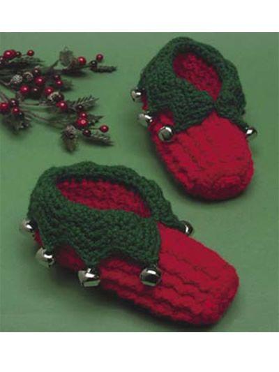 Free Crochet Kid's Elf Slippers Pattern.