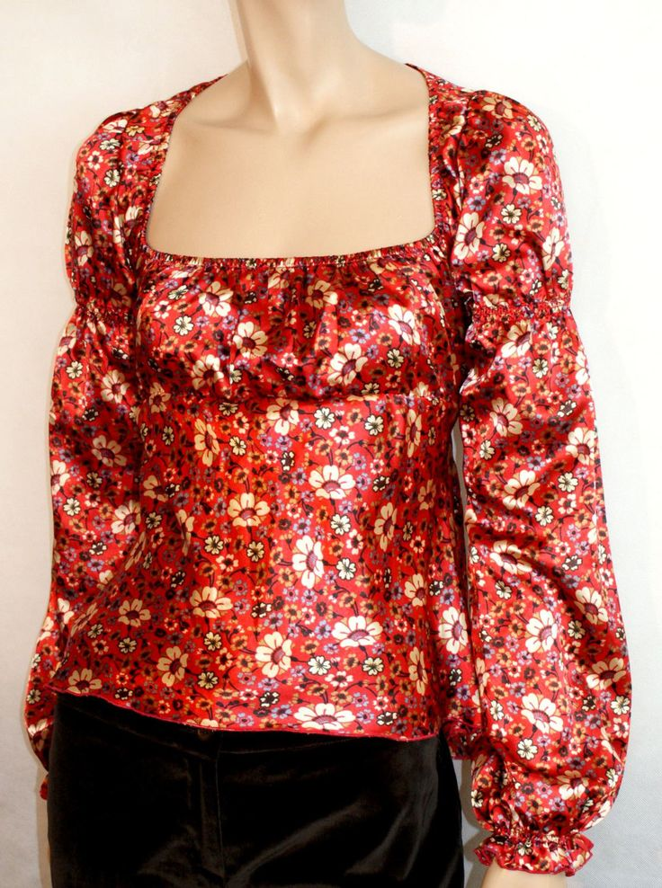 Shiny & Colorful Satin Woman Blouse Shirt Size M Branded DENNY ROSE Blusa Camicia Rosso Satin Lucida Floreale Boho Hippie Style Taglia S di BeHappieWorld su Etsy
