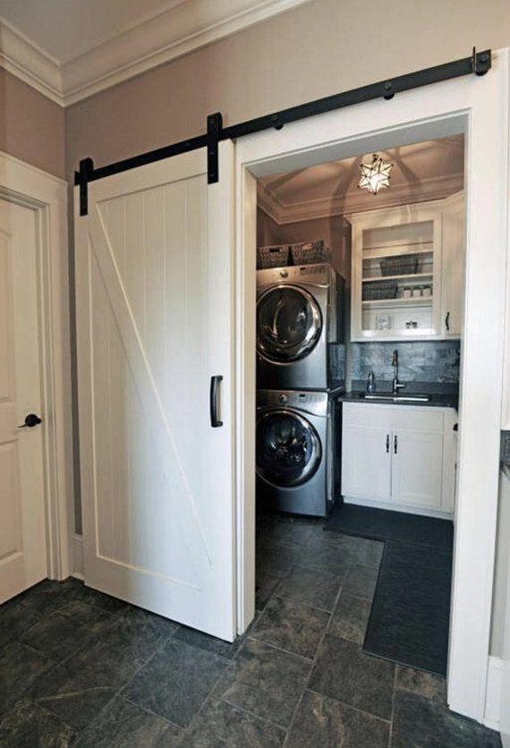 Vintage Sliding Barn Door Zig Zag Design White Paint Laundry Room Cabinets Barn Door Cabinet Laundry Room