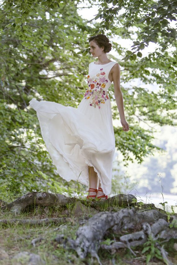 Ivory long chiffon dress with embroidery by AtelierDeCoutureJK, #festiveheart.com