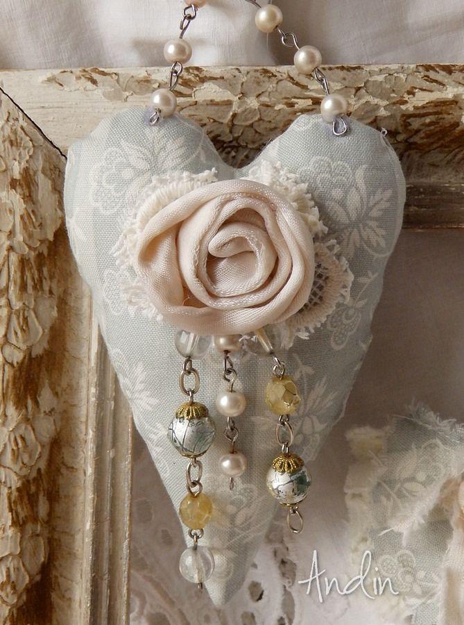 Kapr Na Modro A Srdce Shabby Chic Fabric Flowers