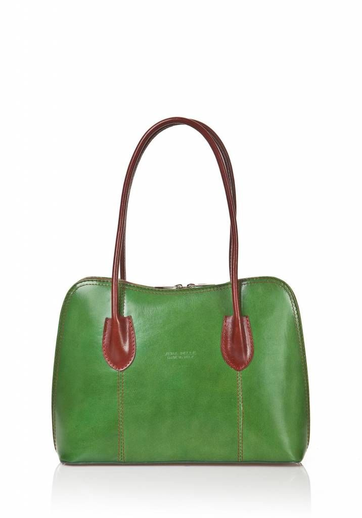 - Schouder tas-handtas leder dubbel handvat groen bruin kleur uit Italië