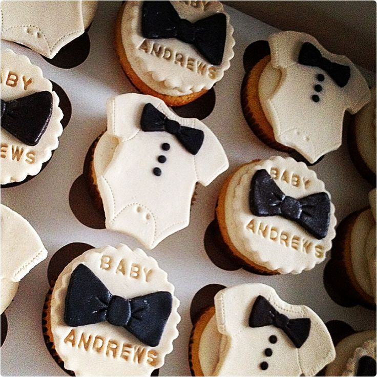 A Pinch Bakery's bow tie onesie cupcakes