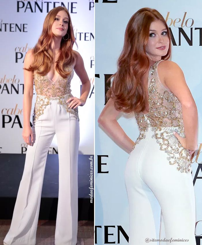 Marina Ruy Barbosa usa macacão branco com renda dourada do estilista Marcelo Quadros Brand em evento da Pantene | jumpsuit whint and lace gold http://modaefeminices.com.br/2017/02/11/marina-ruy-barbosa-embaixadora-em-evento-de-beleza-pantene/