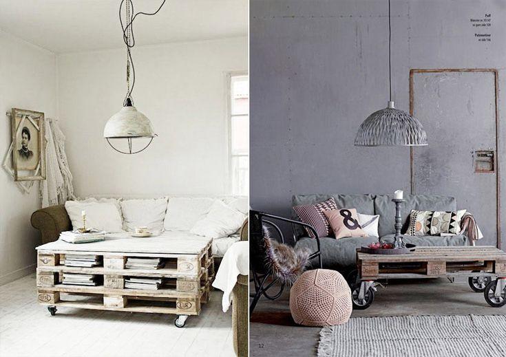 Мебель из поддонов и паллет: столы на колесиках #мебель #паллеты #поддоны