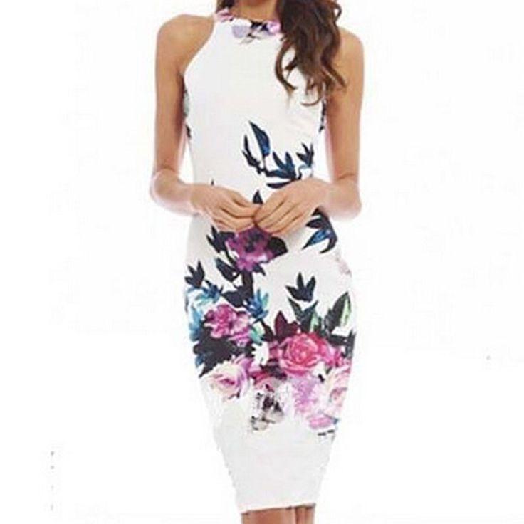 Hot Item S/M/L/XL Sexy Floral Casual Slim Dress Sheath Sleveless Dress Autumn Women Beauty Evening Party Dress #Affiliate