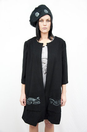 Love Hotel. S/S 2012. Love Hotel Wool Coat with fan print pockets and Beret.