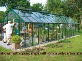 Juliana Gardener Series 1800 Greenhouse Kit - 11x16 - Green Frame - Ships for only .... $7268.80. Juliana Gardener Series 1800 - 11x16 - Green Frame  Gardener 1800 (18.0 m² / 193.0 sq.feet) 4 double windows on 1800 model Aluminum frame with gutters All mounting hardware 6mm twinwall polycarbonate covering Double hinged doors with lock Adjustable window vents 20 year extended frame warranty 5 year warranty on panels  The doors are designed with a key lock and one ...