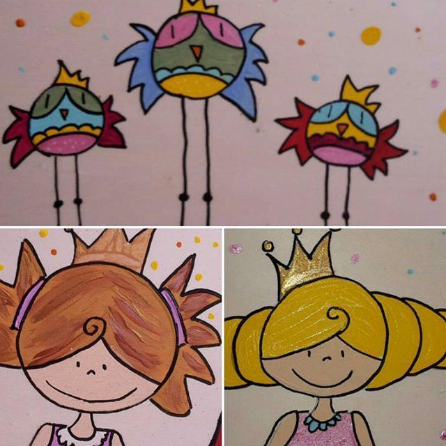 Painting on wood is so much fun ! ☆ More..more..moreeeee ♡♡ ☆ Craft&design by ateliernosissy ♡ ♡ ☆ #kinderkamerkunst #kinderkamer #schilderij #barnkammare #barnrummet #chambredenfant #børneværelse #kinderzimmer #børneværelse #børneværelset #illustration #illustraties #illustratie #ontwerp #nurseryroom #painting #nurseryart #vogeltjes #prinses