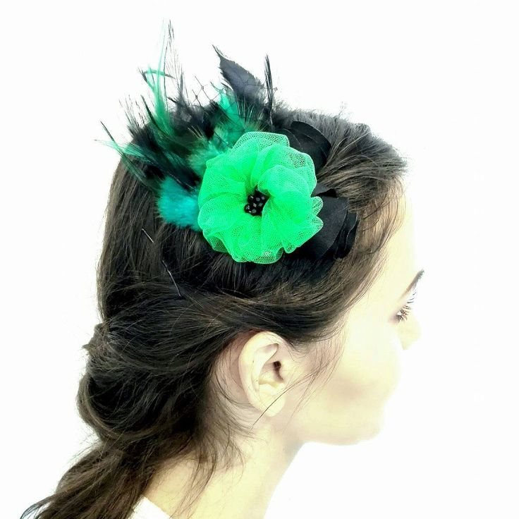 Green and Black Feathers Fascinators, Green Flower Hair Clip, Black Feathers Hair Accessory by AnaManoleAtelier on Etsy