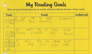 Reading Goals...love this. Set goals with students during GR and keep where they have access as a reminder.