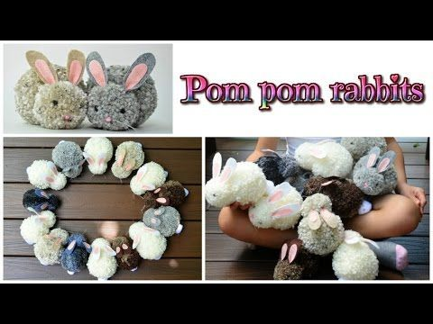 easy crafts: pom pom rabbits - stuffed bunnies DIY - Isa ❤️ - YouTube