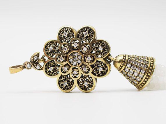 White Crystal Stone Jewelled Tassel Oriental Ottoman