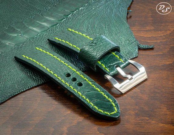 Handmade Dark Green Ostrich leg leather watch strap 20 22 24 26 mm Made in Italy