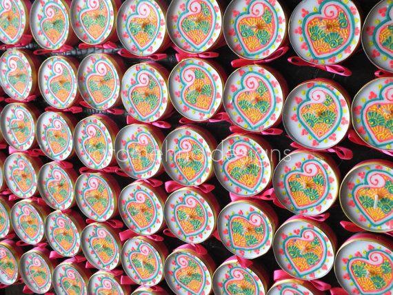 50 pcs | Jumbo Henna Tea-light Candle Favour | Paisley Yellow Green Pink | Mehndi Party Indian Moroccan Wedding