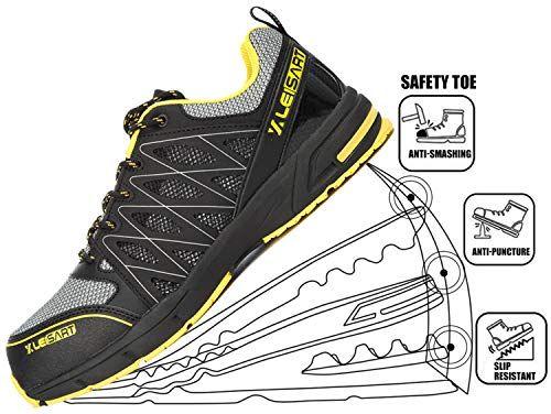 56d23e026549e Leisart Men's Steel Toe Work Safety Shoes Athletic Lightweight Slip ...