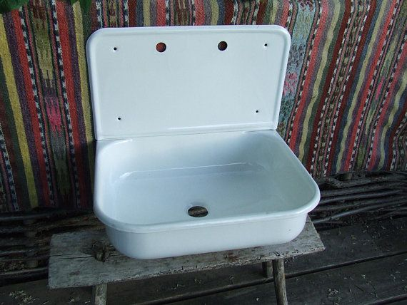 Sink Vintage Porcelain Enamel Sink Sink With Drainboard Antqiue Kitchen Sink Farm Sink High Back S Farm Sink Sink Vintage Sink