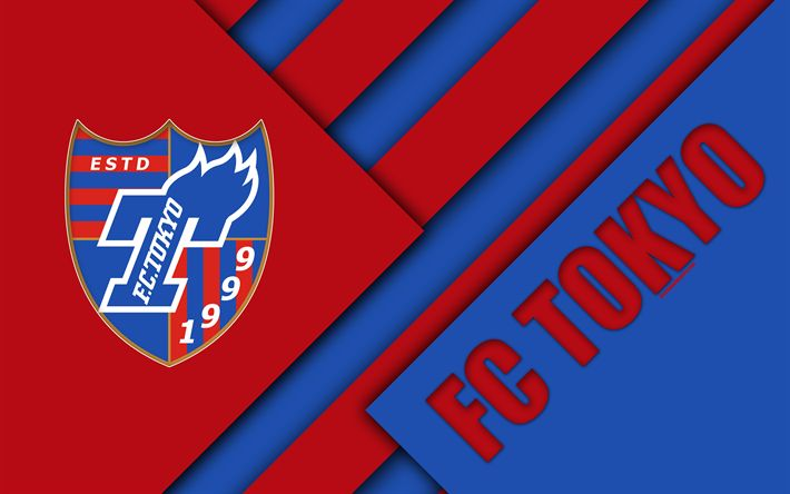 Download wallpapers FC Tokyo, 4K, blue red abstraction, material design, Japanese football club, logo, Tokyo, Japan, J1 League, Japan Professional Football League, J-League