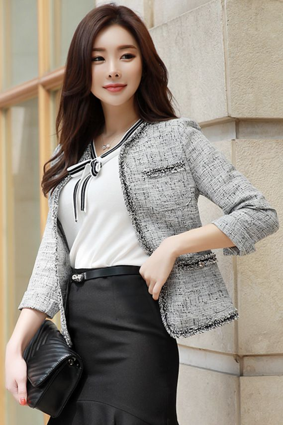 StyleOnme_Classic Collarless Tweed Jacket #tweed #jacket #officelook #feminine #koreanfashion #kstyle #kfashion #springtrend #workwear