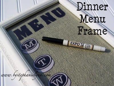 burlap dinner menu frame DIY