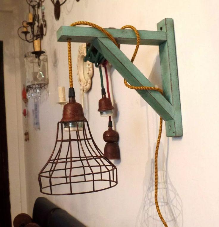 (1) Lampara De Pared Aplique Vintage Mensula De Madera Cod-415 - $ 1.750,00 en…