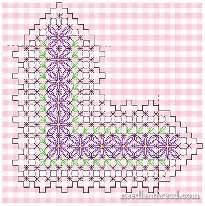 Chicken Scratch / Gingham Lace corner pattern