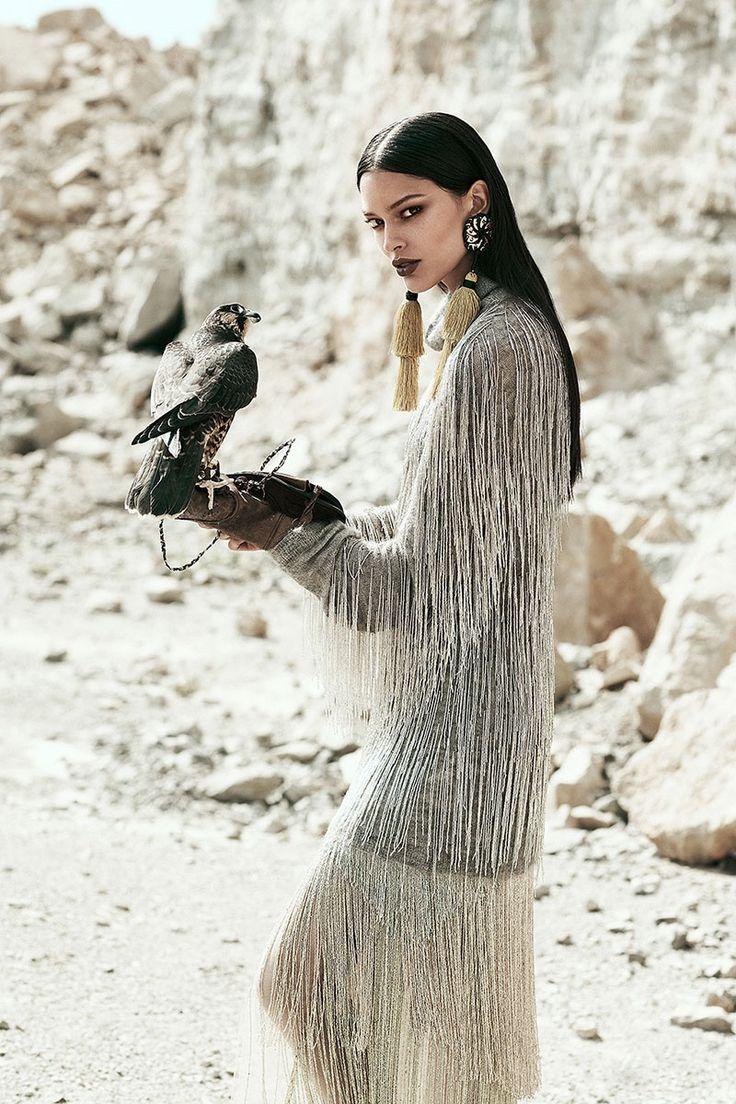 Lizzy Salt models Valentino  fringe adorned top and skirt for FASHION Canada Magazine November 2016 issue