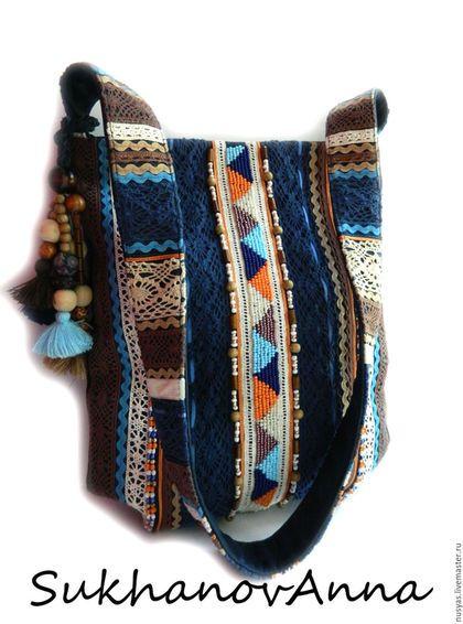 Купить или заказать Бохо - сумка 'Freedom3' в интернет-магазине на Ярмарке Мастеров. Сумка в любимом стиле бохо.Очень классный аксессуар для бохо-девушек.Сумочка выполнена из натуральной синей кожи ,скомбинирована с джинсой синей(места с вышивкой выполнены из джинсы,остальное-кожа). Вышивка выполнена бисером,бусинами деревянными,сутажной тесьмой,бархатной летной,кружевом хлопковым,украшена съёмным брелоком. Сумка готовая,на заказ выполню в любых цветах,цена может изменится в зависимос...