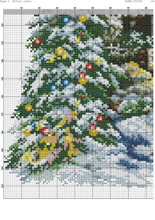 Cross-stitch Winter Comes, part 8 of 11..  color chart on parts 2 & 3