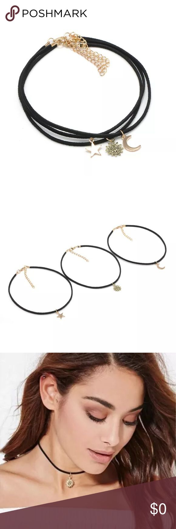 3 Multilayered Chocker Necklaces Item Specifics BrandUnbranded ColorBlack Country/Region of ManufactureChina Length (inches)35.5cm Main ColorBlack MaterialVelvet StyleChoker 3 pieces  E2 Jewelry Necklaces
