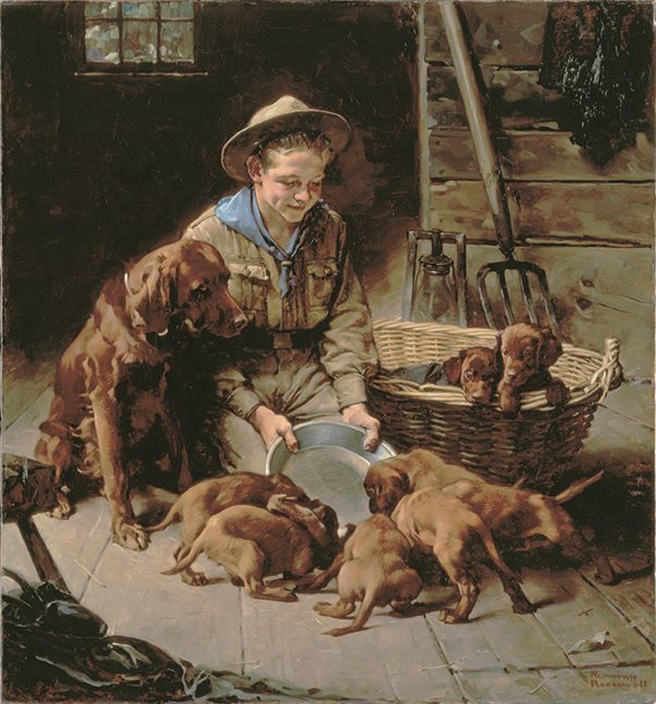 "Norman Rockwell (1894-1978) - ""Good Friends"" - Oil on canvas - http://collections.nrm.org/search.do?id=381624&db=object&page=1&view=detail"