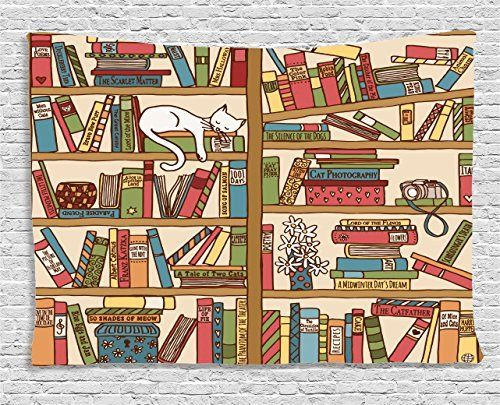 Ambesonne Cat Lover Decor Collection, Nerd Book Lover Kitty Sleeping Over Bookshelf in Library Academics Feline Cosy Boho Design, Bedroom Living Room Dorm Wall Hanging Tapestry, 60 X 40 Inches, Multi *** You can get additional details at the image link.