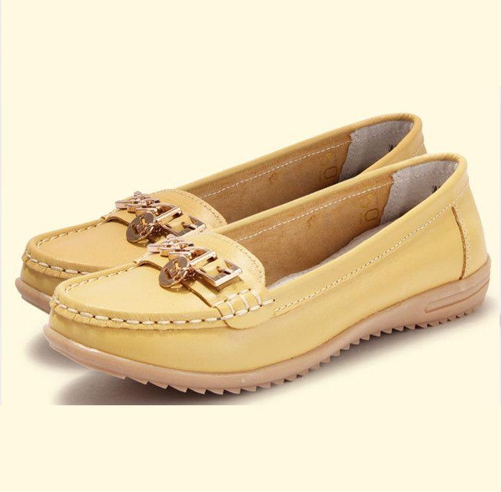 Women genuine leather flats woman flat fashion nurse shoes women's round toe flexible ballet shoes driving loafer