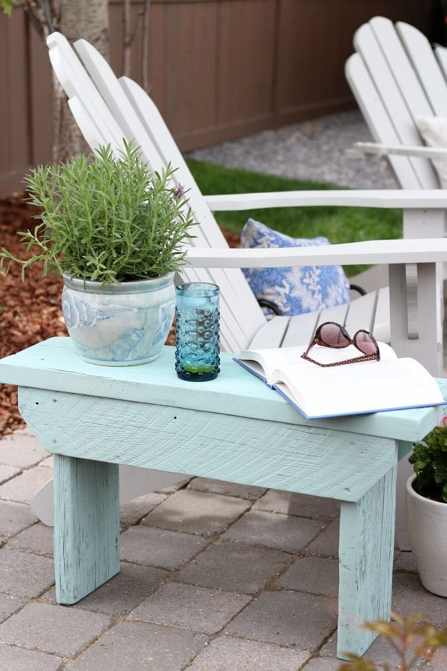 Salvaged Wood Outdoor Bench Aqua Blue Side Table Grey Adirondack Chairs