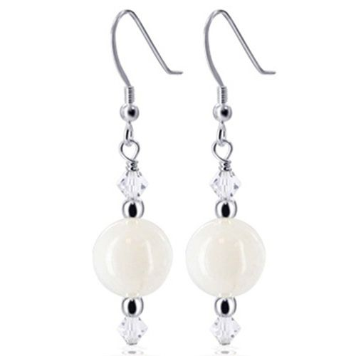 Swarovski Elements White Agate and Clear Crystal Drop Sterling Silver Earrings #SCER449