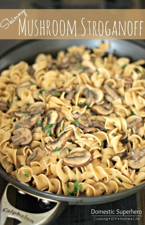 """Skinny Mushroom Stroganoff - Made this for the first time on 10/22/13. Loved the recipe! However, hubby suggests less of the """"wild"""" mushrooms - will stick to a combo of shiitake, white, and baby bella from now on. Might need a little extra flour to thicken the sauce!"""